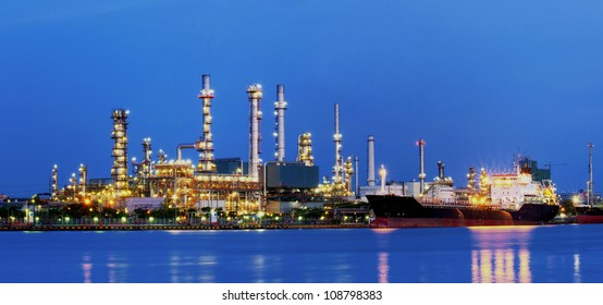 Refinery water front on twilight in thailand.