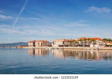 Reflected view of Vilanova de Arousa seafront