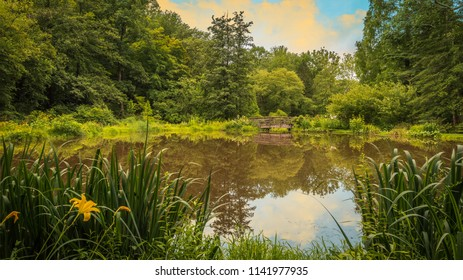 Reflecting pond with wooden bridge