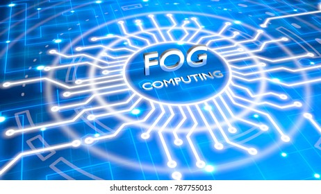 The reflecting words fog computing in the center of a circuit structure on blue network 3D illustration