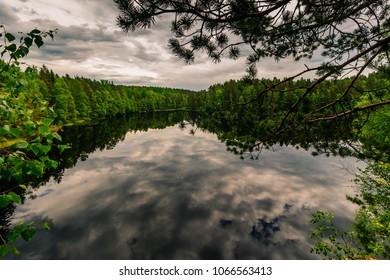 Reflection along a lake just outside out Helsinki