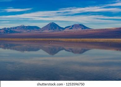 Reflection of the amazing Salar de Atacama scenery. Chile.