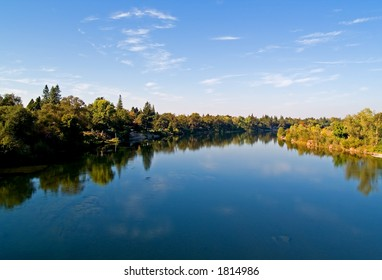 Reflection in the American River in Sacramento County