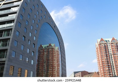 Reflection of apartments opposite in the gigantic window of the Markthal in Rotterdam.