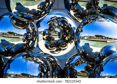 Reflection balls on a clear day
