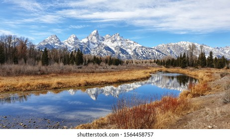 reflection of beautiful landscape view of Grand Teton mountain at Schwabacher Landing Moose in Grand Teton National Park which is located in Wyoming State, USA
