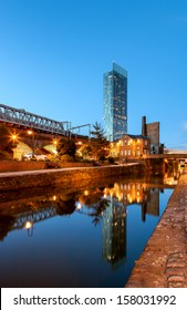 Reflection of Beetham tower the tallest building in Manchester.