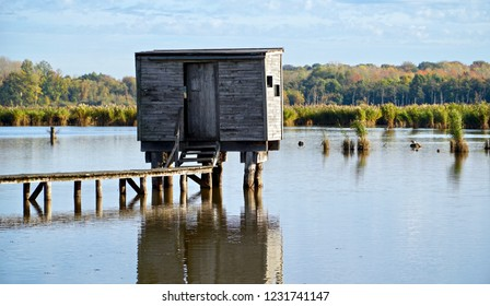 Reflection below a bird watcher's shed on the lake