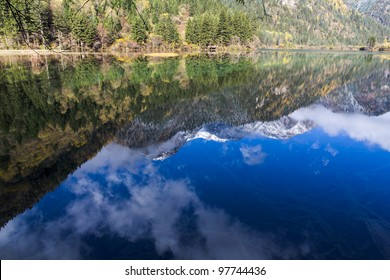 The reflection of blue sky in the lake.