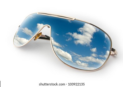 Reflection of a blue sky in sunglasses