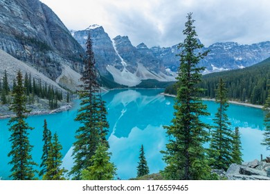 Reflection and Blue Water in Moraine Lake, Banff, Canada