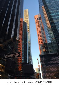Reflection of buildings, 5th Avenue, NYC, USA