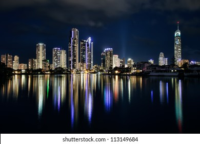 Reflection of buildings and apartments at night, Gold Coast Australia