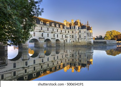 Reflection of  Chateau de Chenonceau, royal medieval french castle.