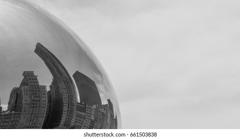 Reflection of a Chicago buildings in a Chicago Bean Cloud Gate