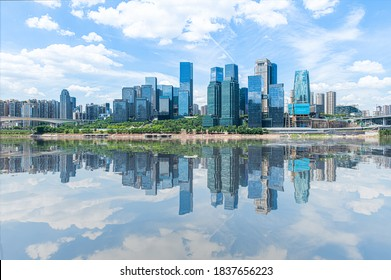 Reflection of Chongqing's bustling city center