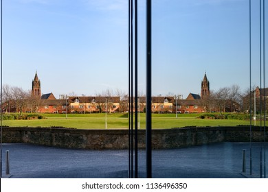 Reflection of church in the glass pane of window in Middlesbrough UK