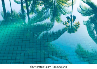 Reflection of coconut trees and sugar palm tree in turquoise color swimming pool