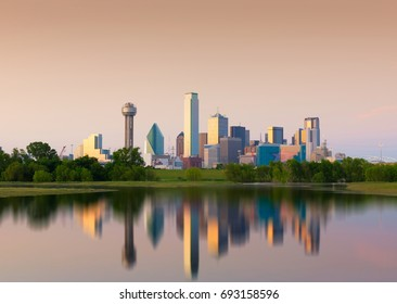 Reflection of Downtown Dallas City, Texas, USA