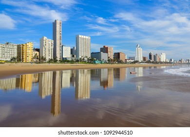 "Reflection of Durban's ""Golden Mile"" beachfront in the Indian Ocean, KwaZulu-Natal province of South Africa"