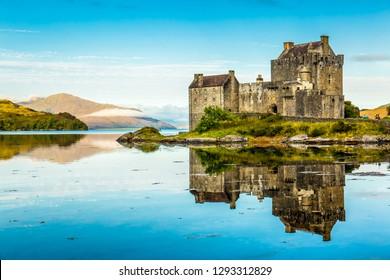 Reflection of Eilean Donan Castle in the morning - Dornie, Scotland - United Kingdom