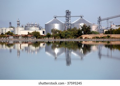 Reflection of ethanol production plant.