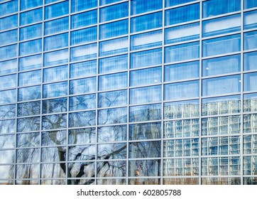 Reflection of the European Parliament building in the glass facade of the Council of Europe building in Strasbourg, France