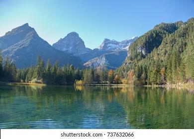 reflection of Grosser Priel mountain in a lake