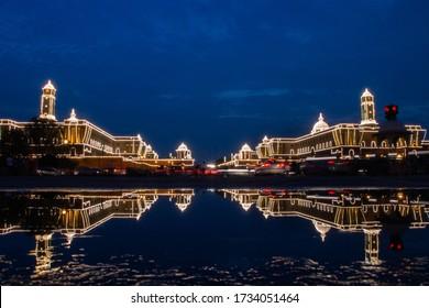 Reflection of Indian President's Estate, Rashtrapati Bhawan in Lutyen's Delhi, New Delhi, India during monsoon.
