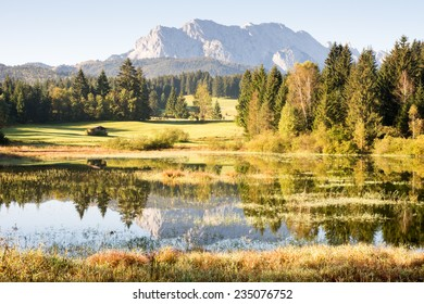 Reflection of the Karwendel Mountains in Lake Tennsee.