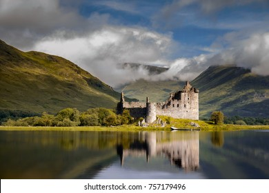 Reflection of Kilchurn Castle in Loch Awe, Highlands, Scotland