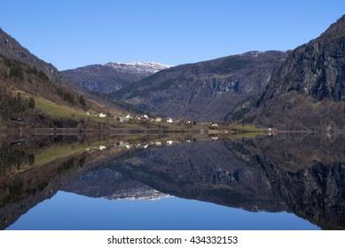 Reflection in lake Granvinvatnet