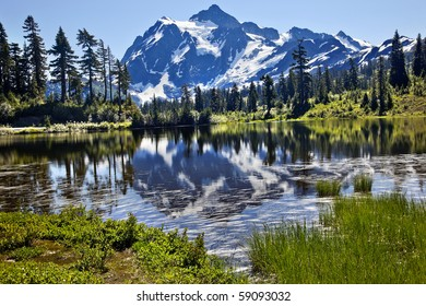 Reflection Lake Mount Shuksan Mount Baker Highway Snow Mountain Grass Trees