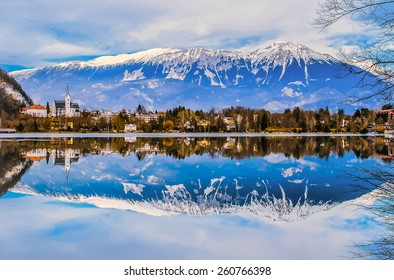 Reflection of lake and mountain, Bled lake, Slovenia