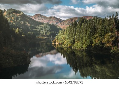 Reflection lake with pine forest at summer in Tohoku Japan.
