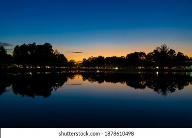 Reflection lake with sunset light