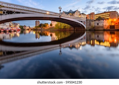 The reflection of  Lendal bridge over River Ouse  in York UK