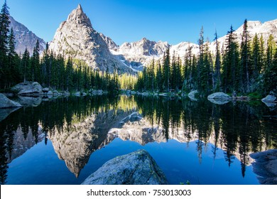 Reflection of Lone Eagle Peak in Mirror Lake in the gorgeous Indian Peaks Wilderness area of Colorado