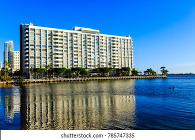 Reflection of Miami Hotel in Blue Bay