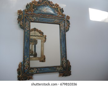 Reflection in mirror.The mirror frame.