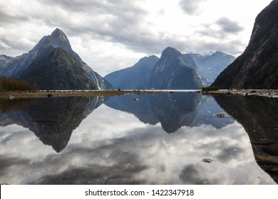 The reflection of the Mitre Peak at Milford Sound Lookout at Foreshore Walk, Fiordland National Park, Southland, New Zealand South Island