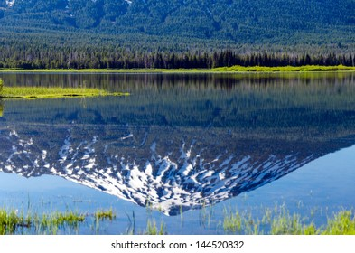 Reflection of Mount Bachelor in Sparks Lake near Bend in Central Oregon