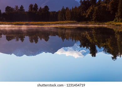Reflection of Mount Cook on the Lake Matheson in Fox Glacier, West Coast, New Zealand in the morning