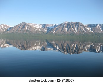 Reflection of mountains in lake water