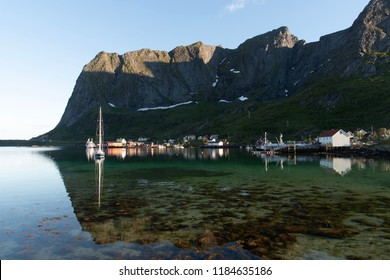 reflection of the mountains in lofoten