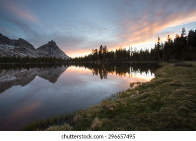 Reflection of mountains in water at sunset,Young Lakes, Yosemite National Park wilderness, California