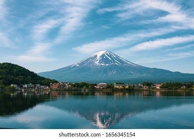 Reflection of Mt Fuji at lake Kawaguchiko