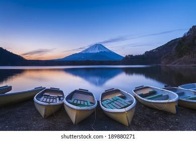 Reflection of Mt Fuji from lake Shoji