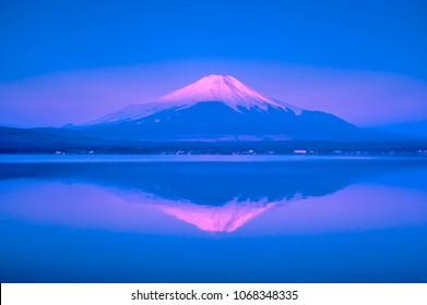 Reflection of Mt Fuji from lake Yamanaka