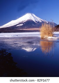 The reflection of Mt. Fuji on a mountain lake